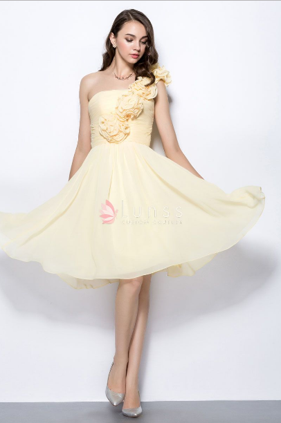 c6810f15af686 Daffodil Yellow Ruffled Flowers One Shoulder Knee Length Short Bridesmaid  Dress - Yes My Bride