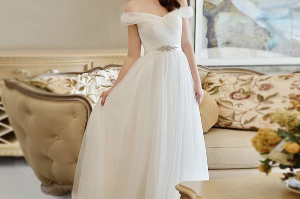 Off-the-shoulder Ivory Soft Tulle A-line Wedding Dress Beaded ...