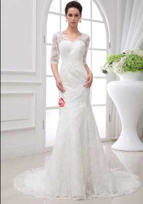 Vintage Ivory Lace A-line Destination Wedding Dress Scoop Neck and ...