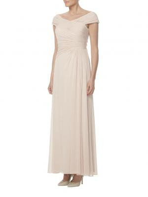 blush chiffon ruched bodice long cap sleeves bridesmaid dress