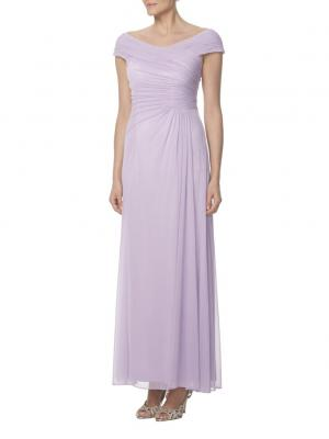cap sleeves ruched bodice long lilac chiffon dress for bridesmaid