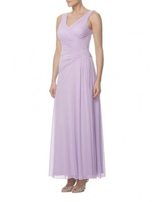 lilac chiffon v neck sleeveless long charming bridesmaid dress