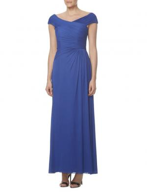 long simple royal blue chiffon bridesmaid dress cap sleeves