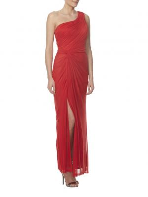 one shoulder slit side long chiffon bridesmaid dress in red