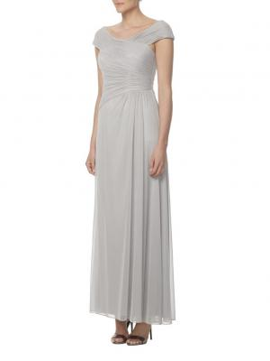 ruched bodice cap sleeves long chiffon bridesmaid dress in grey