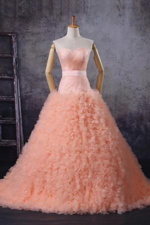 unusual peach ruffled strapless wedding dress