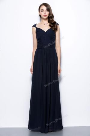 queen anne cap sleeve back keyhole long chiffon navy bridesmaid dress