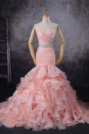 strapless ruffles unusual dropped waist wedding dress